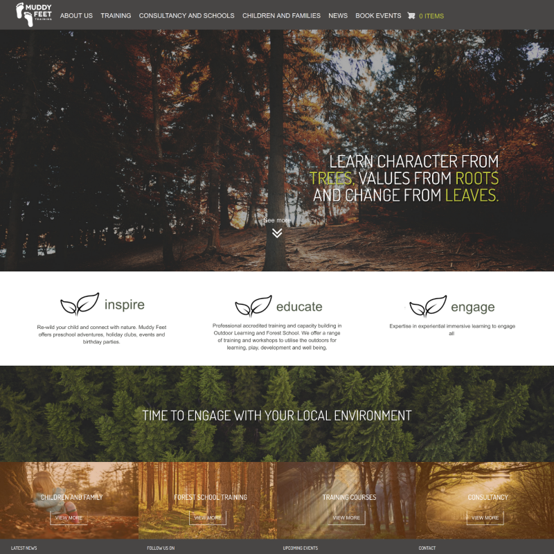 Custom Forrest school Training booking website
